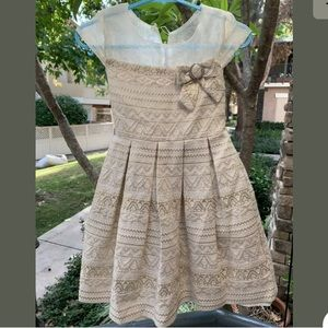 Bonnie Jean Holiday Cream Gold Dress Size 6